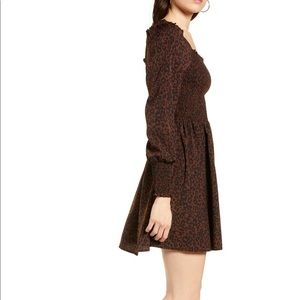 nwot bp // leopard smocked dress